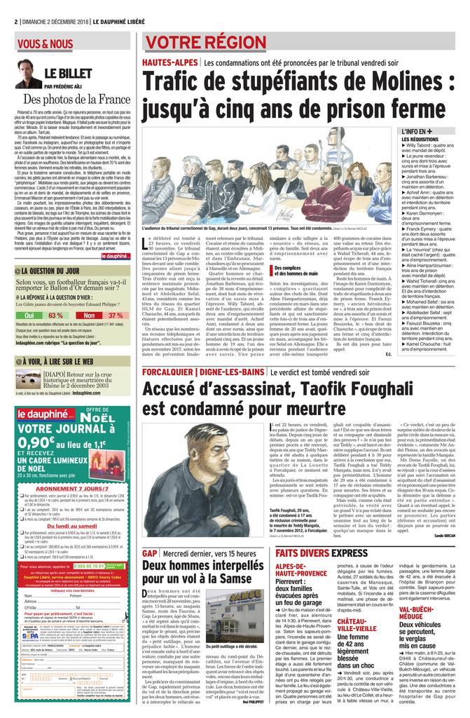 Le Dauphiné Libéré - Cour d'Assises de Digne les Bains - Affaire d'assassinat