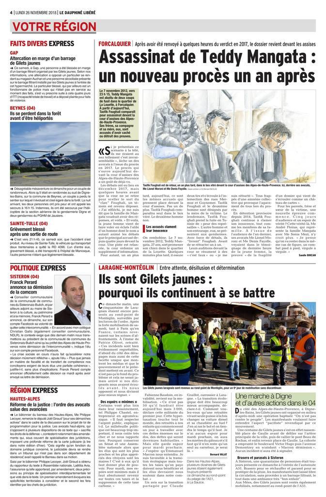26.11.2018 - Le Dauphiné Libéré & La Provence