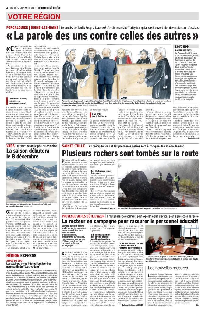 27.11.2018 - Le Dauphiné Libéré & La Provence