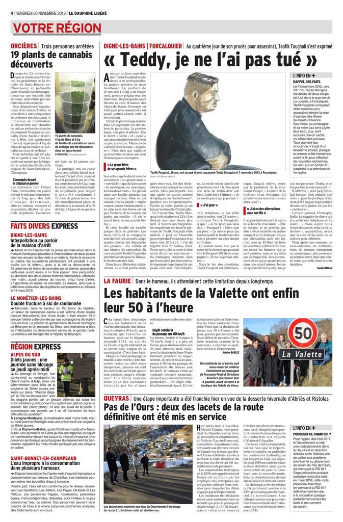 30.11.2018 - Le Dauphiné Libéré & La Provence