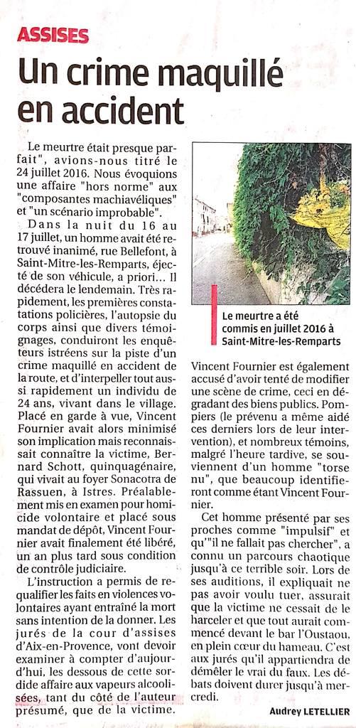 La Provence - 15.03.2021 - Un crime maquillé en accident - Cour d'Assises des Bouches-du-Rhône