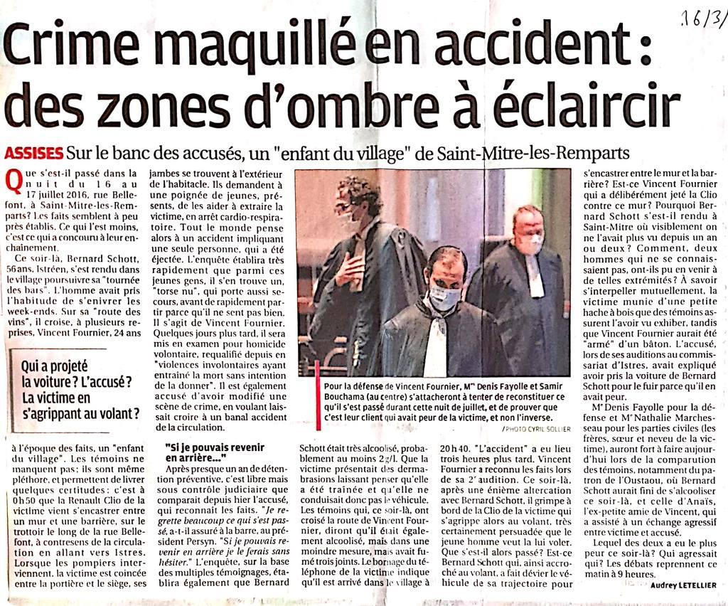 La Provence - 16.03.2021 - Crime maquillé en accident : des zones d'ombre à éclaircir - Cour d'Assises des Bouches-du-Rhone