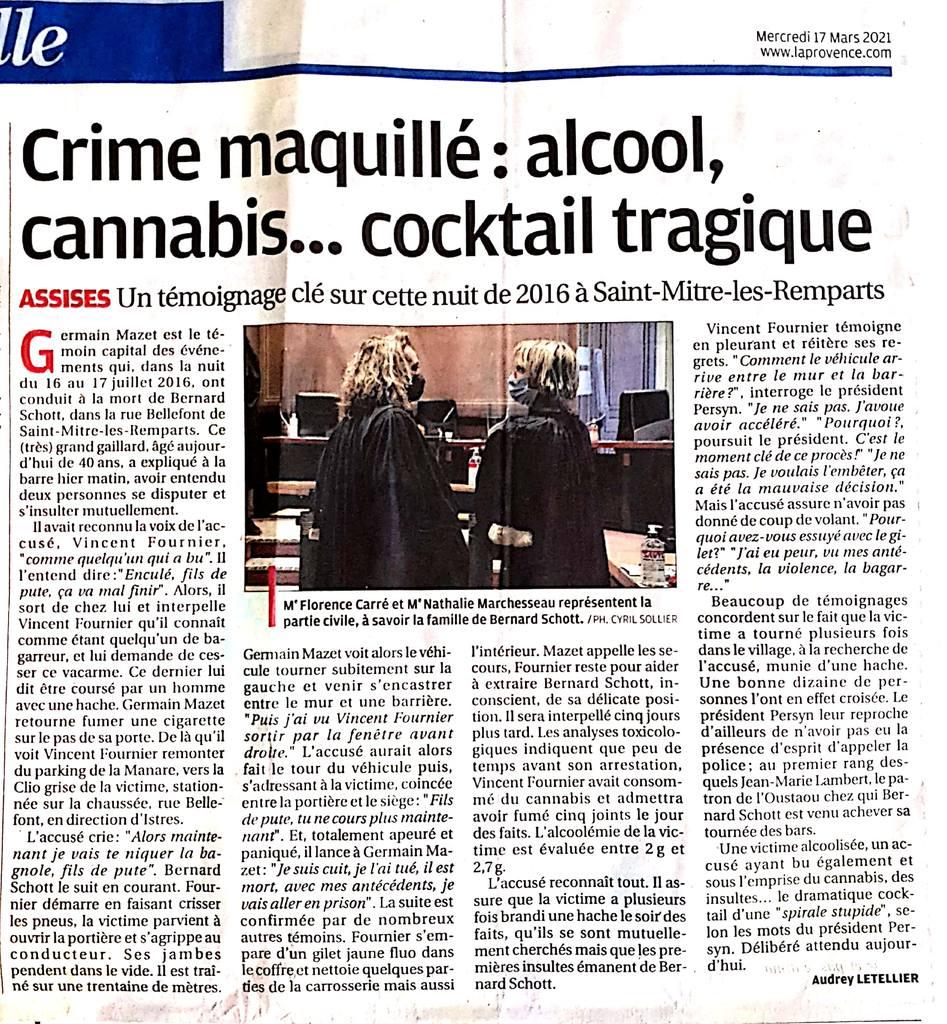 La Provence - 17.03.2021 - Crime maquillé : alcool, cannabis... cocktail tragique - Cour d'Assises des Bouches-du-Rhone