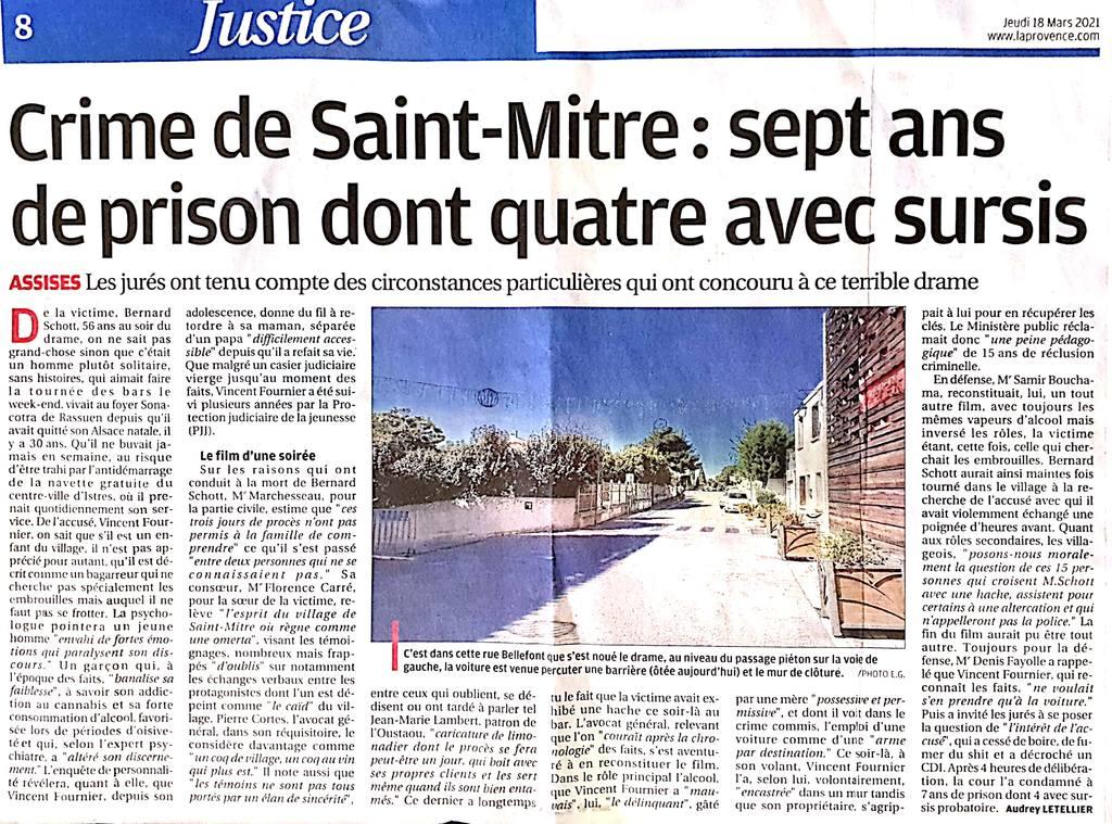 La Provence - 18.03.2021 - Crime de Saint-Mitre : Sept ans de prison dont quatre avec sursis - Cour d'Assises des Bouches-du-Rhône