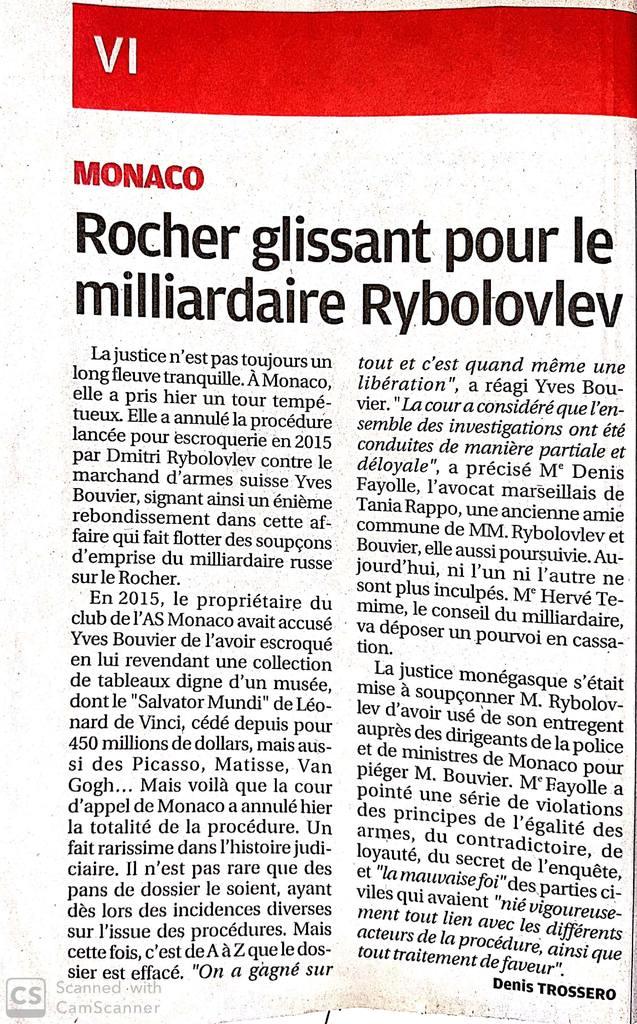 La Provence - Article du 13 Décembre 2019 - Affaire Rybolovlev