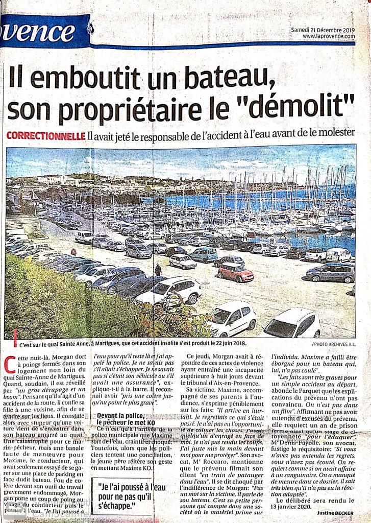 La Provence - Article du 21 Décembre 2019- Affaire de violences volontaires