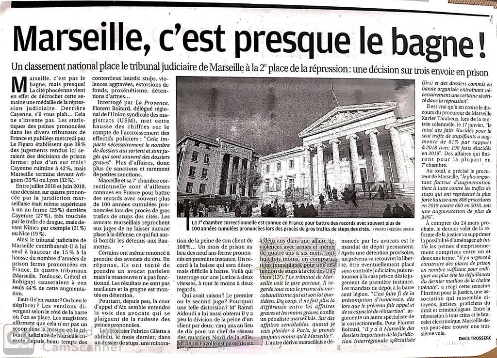 La Provence - Article du 22 Janvier 2020 - Affaire d'infraction à la législation sur les stupéfiants