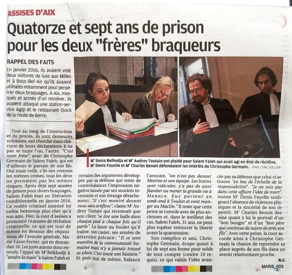 La Provence - Cour d'Assises des Bouches du Rhône - Affaire de vol à main armée