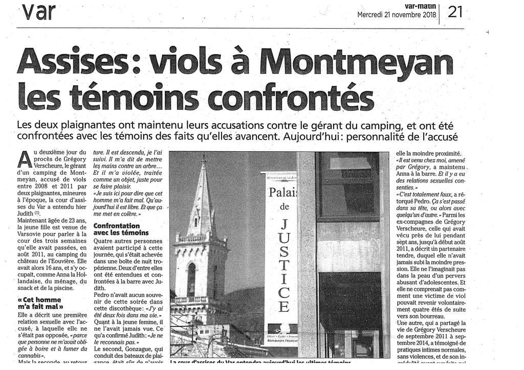Var Matin - Cour d'Assises de Draguignan - Affaire de viols aggravés