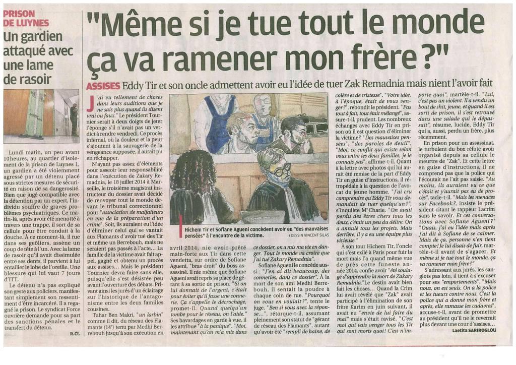 La Provence - Cour d'Assises des Bouches-du-Rhône - Affaire de l'assassinat de Zakary REMADNIA