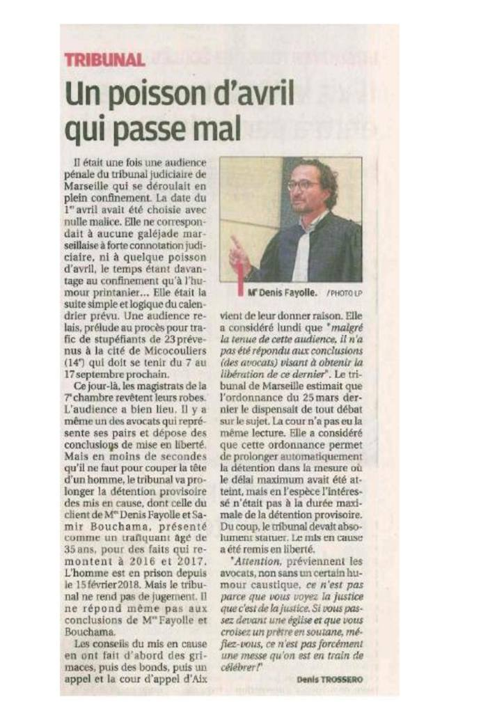 La Provence - 4 Mai 2020 - Affaire de trafic de stupéfiant