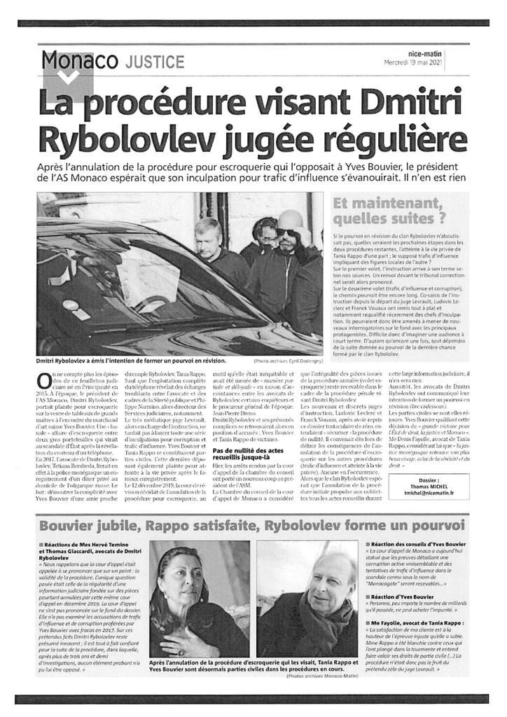 Monaco JUSTICE - 19.05.2021 - Affaire de corruption, trafic d'influence et atteinte à la vie privée