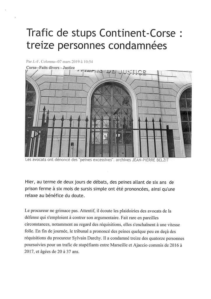 Corse Matin - Tribunal Correctionnel d'Ajaccio - Affaire de trafic de stupéfiants
