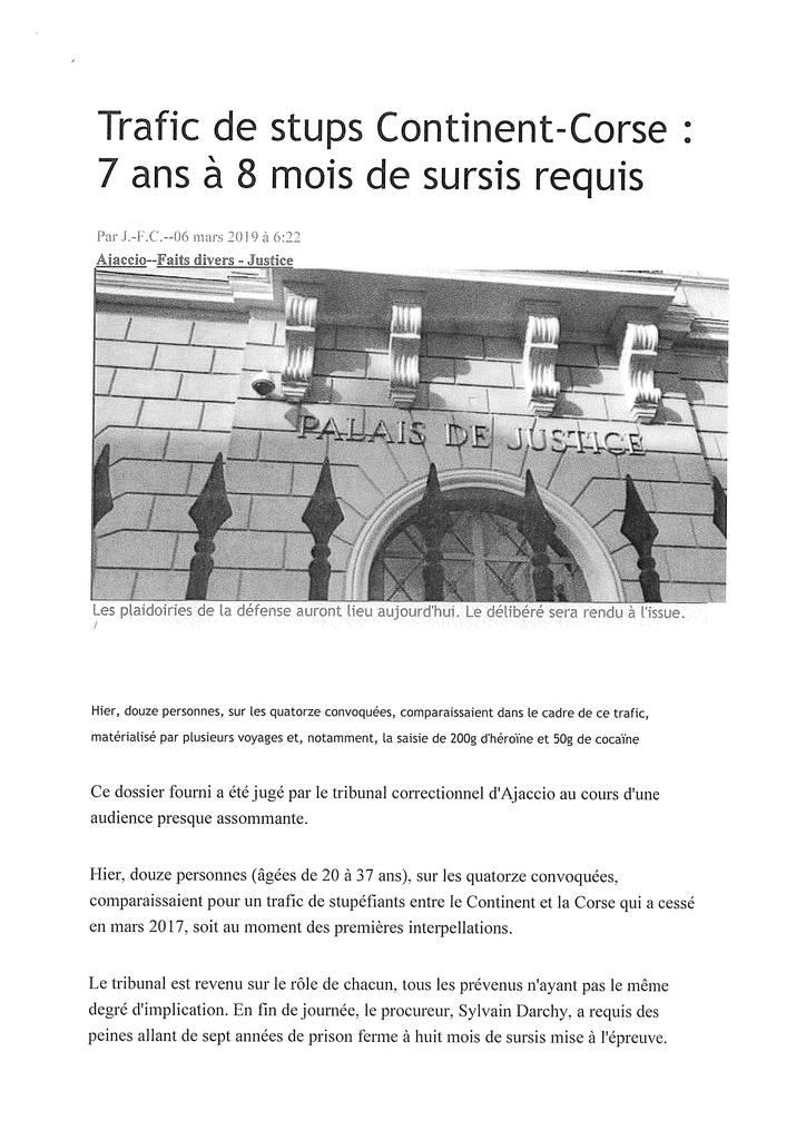 Corse Matin - Tribunal Crrectionnel d'Ajaccio - Affaire de trafic de stupéfiants
