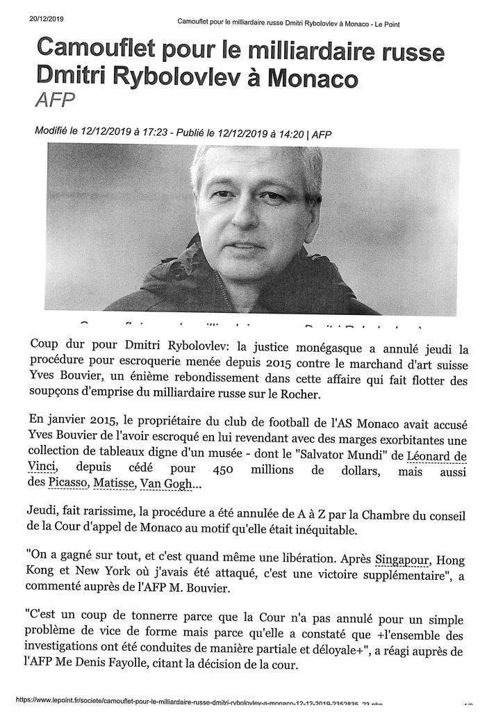 Article LE POINT - 12 Décembre 2019 - Affaire de blanchiment à Monaco