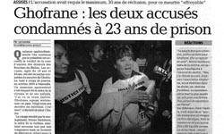 Ghofrane: les deux accusés condamnés à 23 ans de prison