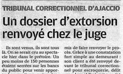 Affaire d'extorsion et escroquerie en bande organisée, article Corse Matin