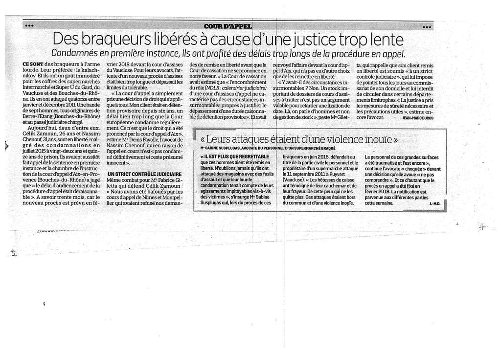 Chambre de l'Instruction - Aix-en-Provence - Affaire de vol à main armée